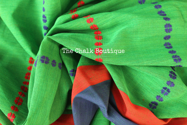 Green 'handloom mark' handwoven begumpuri saree. TCB-AM1-BG-The Chalk Boutique