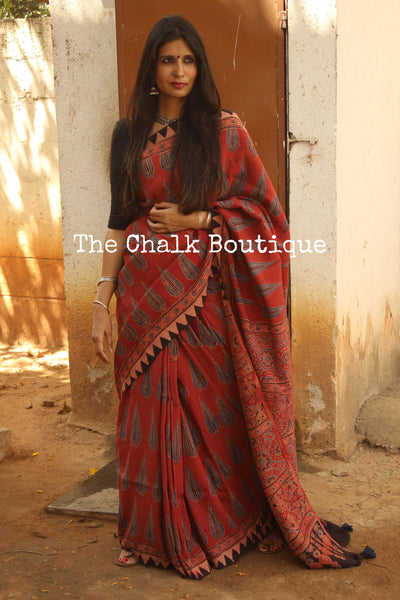 Red Cotton Silk hand block printed vegetable dyed Ajrakh saree. KCH-CON8-CX