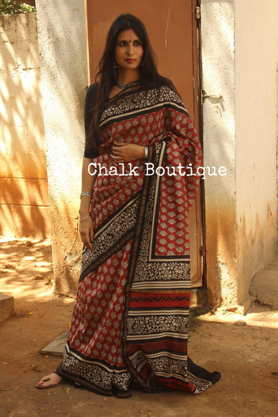 Red Hand Block printed Chanderi Saree. TCB-CH17-RB5