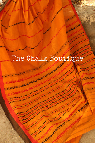 Mustard 'handloom mark' handwoven begumpuri saree. TCB-AM2-BG-The Chalk Boutique