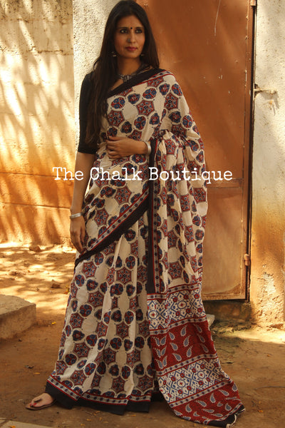 Off White dabu hand block print saree. TCB-COT1-RB5