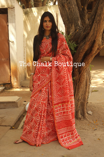 Orange Hand Block printed Chanderi Saree. TCB-CH18-RB5