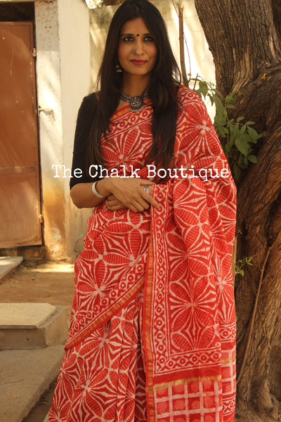 | Retro Soul | Orange Hand Block printed Chanderi Saree.
