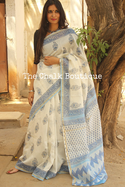 Summer Blue Hand Block printed Chanderi Saree. TCB-CH19-RB5