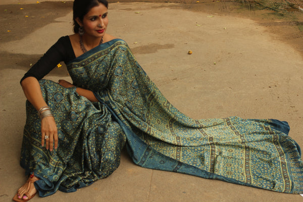 Modal silk vegetable dyed Ajrakh saree. KCH-MOD1-C2