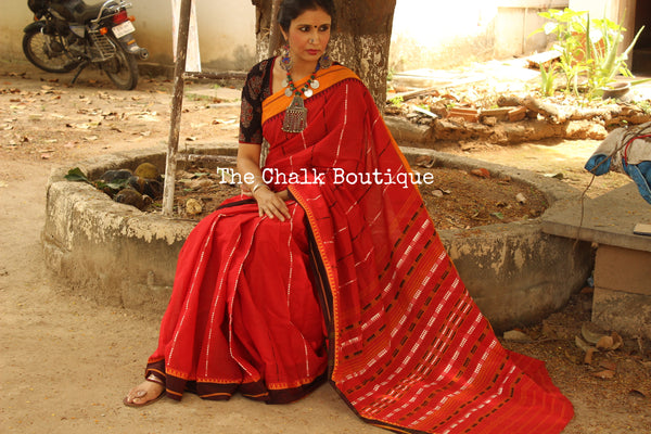 Ruby Red 'handloom mark' handwoven begumpuri saree. TCB-AC1-BG