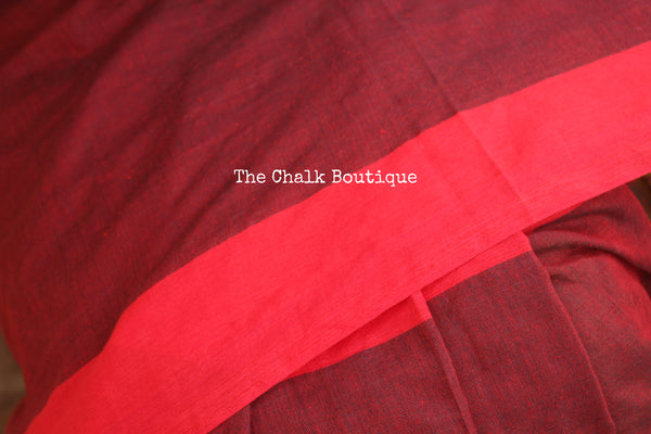 Red Half and Half Cotton Saree.TCB-YL1-CY8