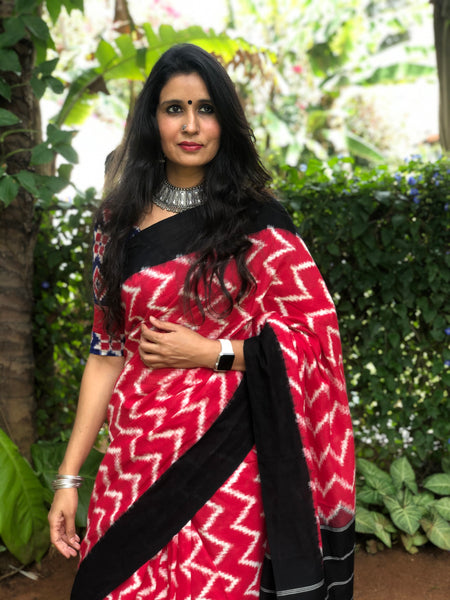 | Red Road | Red and Black Aztec Handwoven Pochampally Double Ikat Cotton Saree