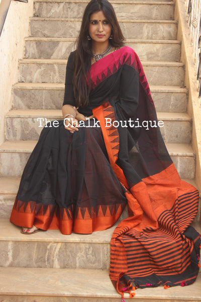 Black Cotton saree with temple border. TCB-BI1-CY8