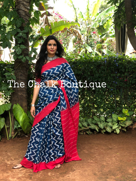 | Blue Road | Blue and White Aztec Handwoven Pochampally Double Ikat Cotton Saree
