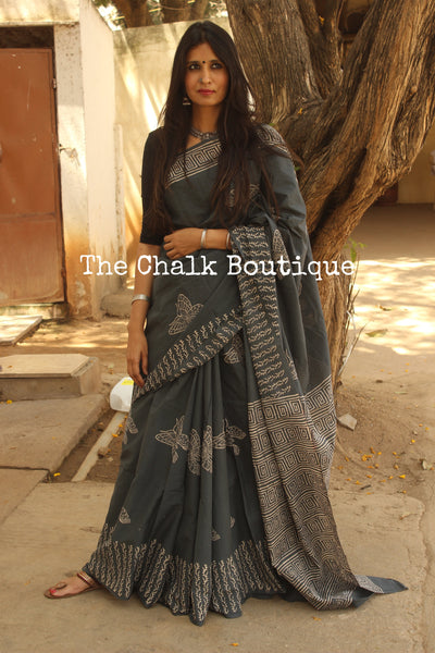 | Titli | Dark Grey Butterfly hand block print saree.