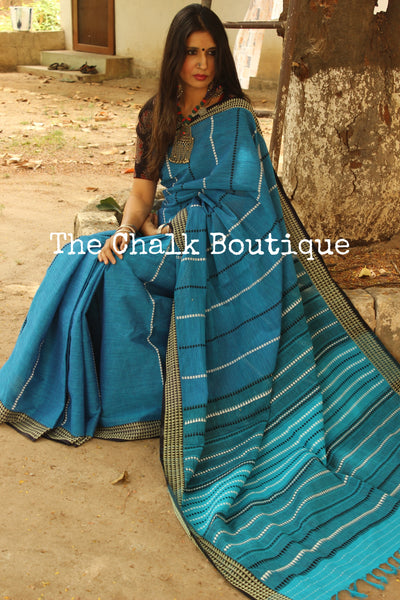 Blue 'handloom mark' handwoven begumpuri saree with blouse fabric. TCB-AA1-BG