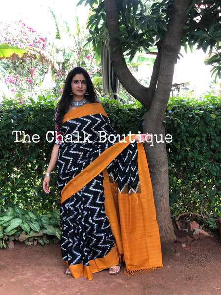 | Highway | Black and Mustard Aztec Handwoven Pochampally Double Ikat Cotton Saree