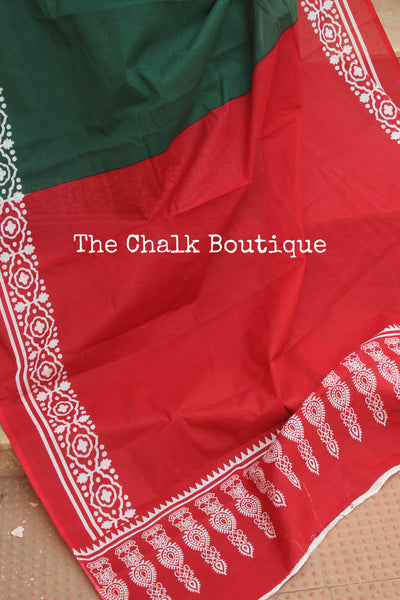 Green and Red dabu hand block print saree. TCB-COT3-RB5