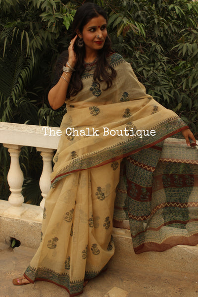 Beige Bagru Hand Block Print Kota Doria Saree TCB-KT-KO-7-The Chalk Boutique
