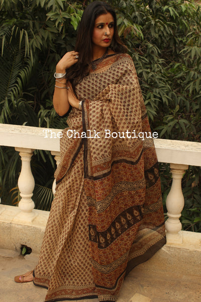 Beige Bagru Hand Block Print Kota Doria Saree TCB-KT-KO-8-The Chalk Boutique