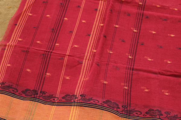 Pink Handloom tant cotton saree with bootas, woven border and contrast blouse fabric. TCB-TNT34-JM