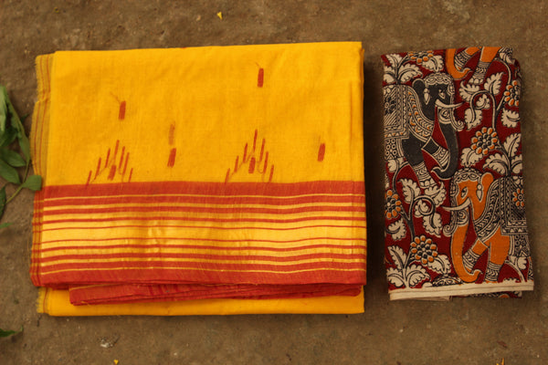 Yellow Handloom tant cotton saree with bootas, woven border and contrast blouse fabric. TCB-TNT35-JM