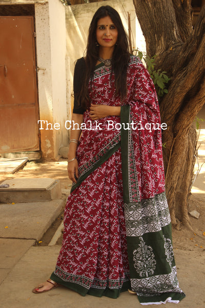 Pink and Green dabu hand block print saree. TCB-COT5-RB5