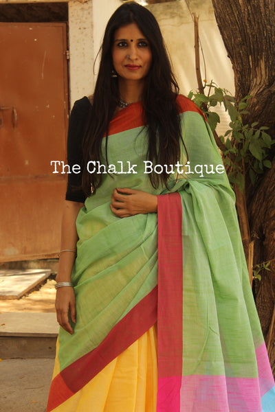 Yellow Cotton Saree with contrast border. TCB-HF1-CY8