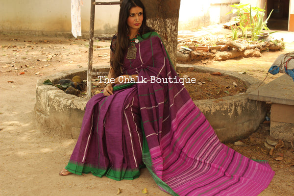 Purple 'handloom mark' handwoven begumpuri saree with blouse fabric. TCB-AA2-BG