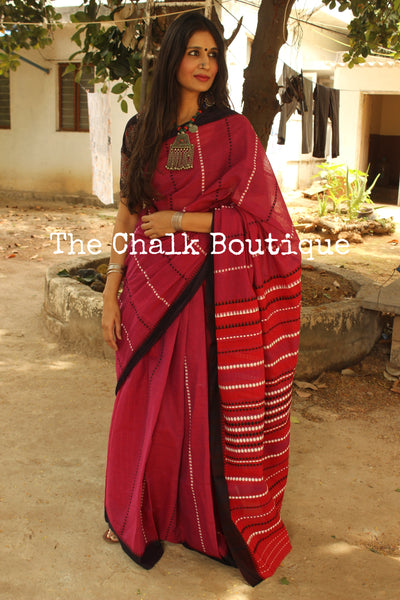 Pink 'handloom mark' handwoven begumpuri saree with blouse fabric. TCB-AA3-BG