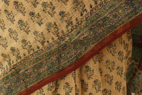 Beige Bagru Hand Block Print Kota Doria Saree TCB-KT-KO-13-The Chalk Boutique