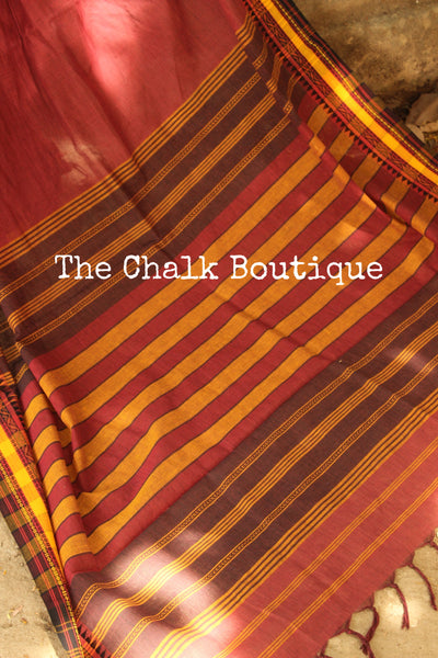 Maroon 'handloom mark' handwoven self striped begumpuri saree with dobby naksha. TCB-DN2-BG1-The Chalk Boutique