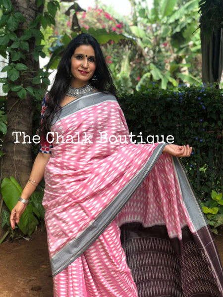 | Khushi | Pink Pure Handwoven Pochampally Single Ikat Cotton Saree