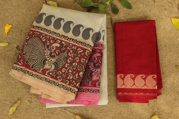 Chettinad cotton saree with kalamkari border. Code- RK-CHK3-C27