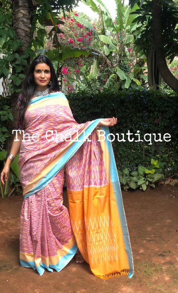 | Siya | Pink Pure Handwoven Pochampally Single Ikat Cotton Saree
