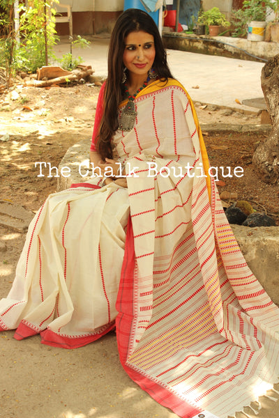 Off White 'handloom mark' handwoven begumpuri saree with ganga jamuna border. TCB-ACN1-BG