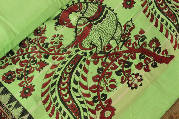 Chettinad cotton saree with kalamkari border. Code- RK-CHK4-C27