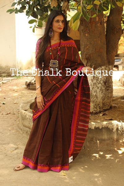 Brown 'handloom mark' handwoven begumpuri saree with blouse fabric. TCB-AA7-BG