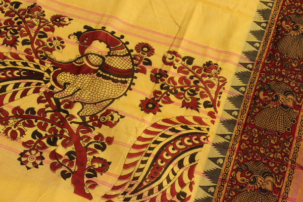 Chettinad cotton saree with kalamkari border and pallu. Code- RK-CHK6-C27