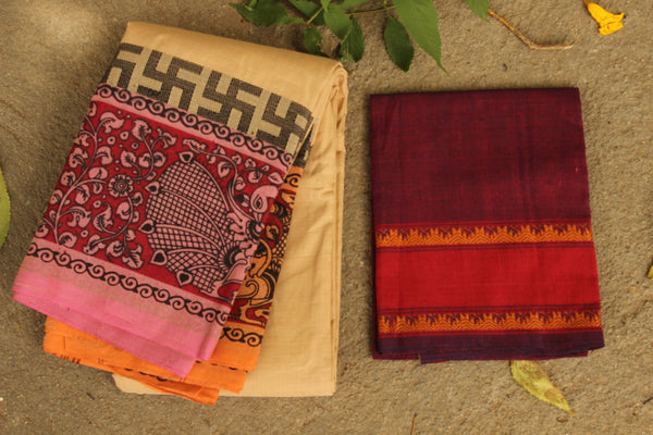 Chettinad cotton saree with kalamkari border and pallu. Code- RK-CHK8-C27