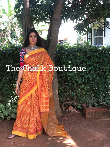 | Mango Bite | Orange Pure Handwoven Pochampally Single Ikat Cotton Saree
