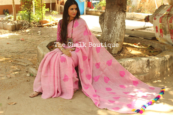 'Heart' pink linen saree with big colorful tassels on the pallu. NF-JAM2-C5
