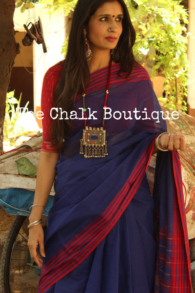 Royal Blue 'handloom mark' handwoven begumpuri saree with dobby naksha. TCB-DN3-BG1-The Chalk Boutique