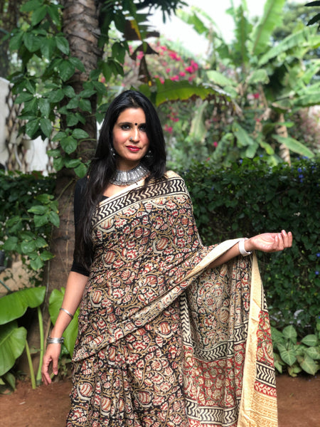 Black 'Bagh' hand block printed saree in Cotton.