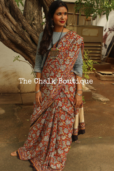 'Bagh' hand block printed saree in Cotton. BH-BGH-9-C1