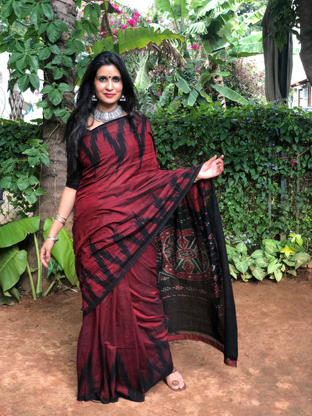 | Cocktail | Maroon handwoven sambalpuri kargil saree.