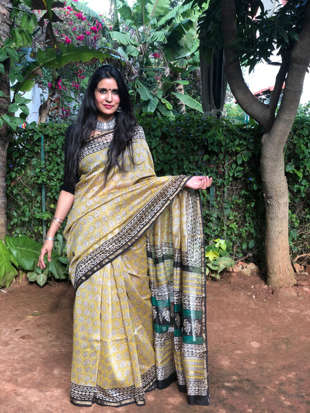 |Patta | Mustard Hand Block printed Chanderi Saree.