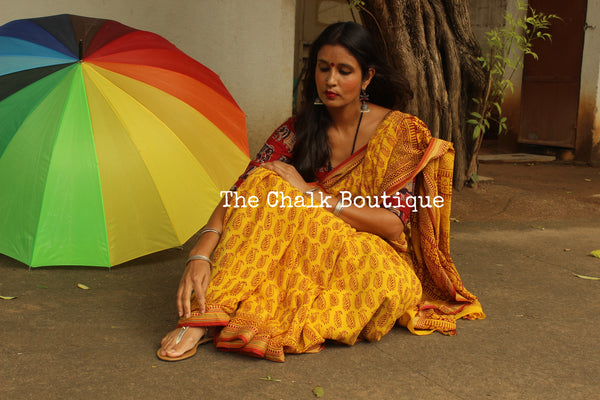 'Bagh' hand block printed saree in Cotton. BH-BGH-15-C1