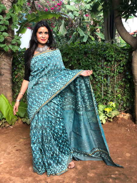 | Neela Aasman | Blue Hand Block printed Chanderi Saree.