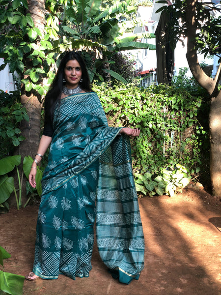 Sea Green 'handloom mark' handwoven begumpuri saree with dobby naksha. TCB-PC3-BG