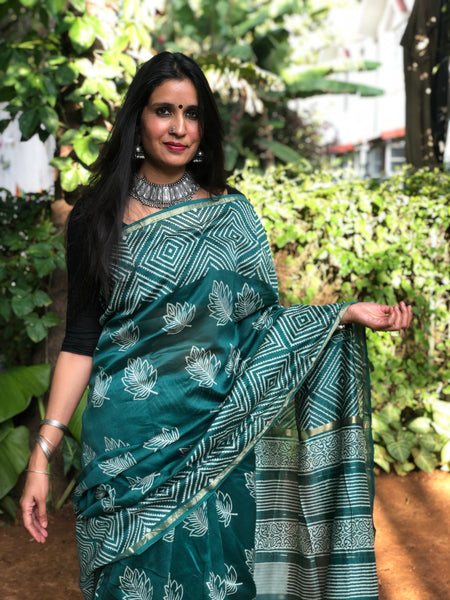 | Spring | Sea Green Hand Block printed Chanderi Saree.