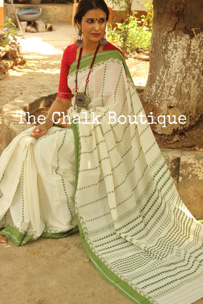 White and Green 'handloom mark' handwoven begumpuri saree. TCB-AC2-BG