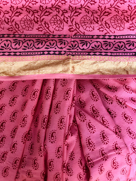 Pink 'Bagh' hand block printed saree in Cotton.
