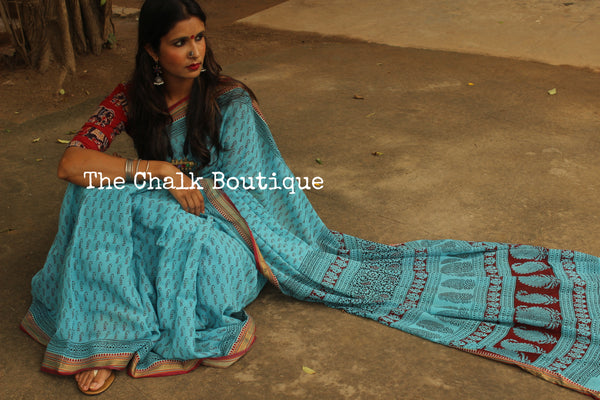 'Bagh' hand block printed saree in Cotton. BH-BGH-16-C1